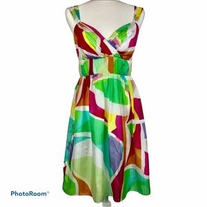 Muse Silk Multicolored Sleeveless Dress Empire